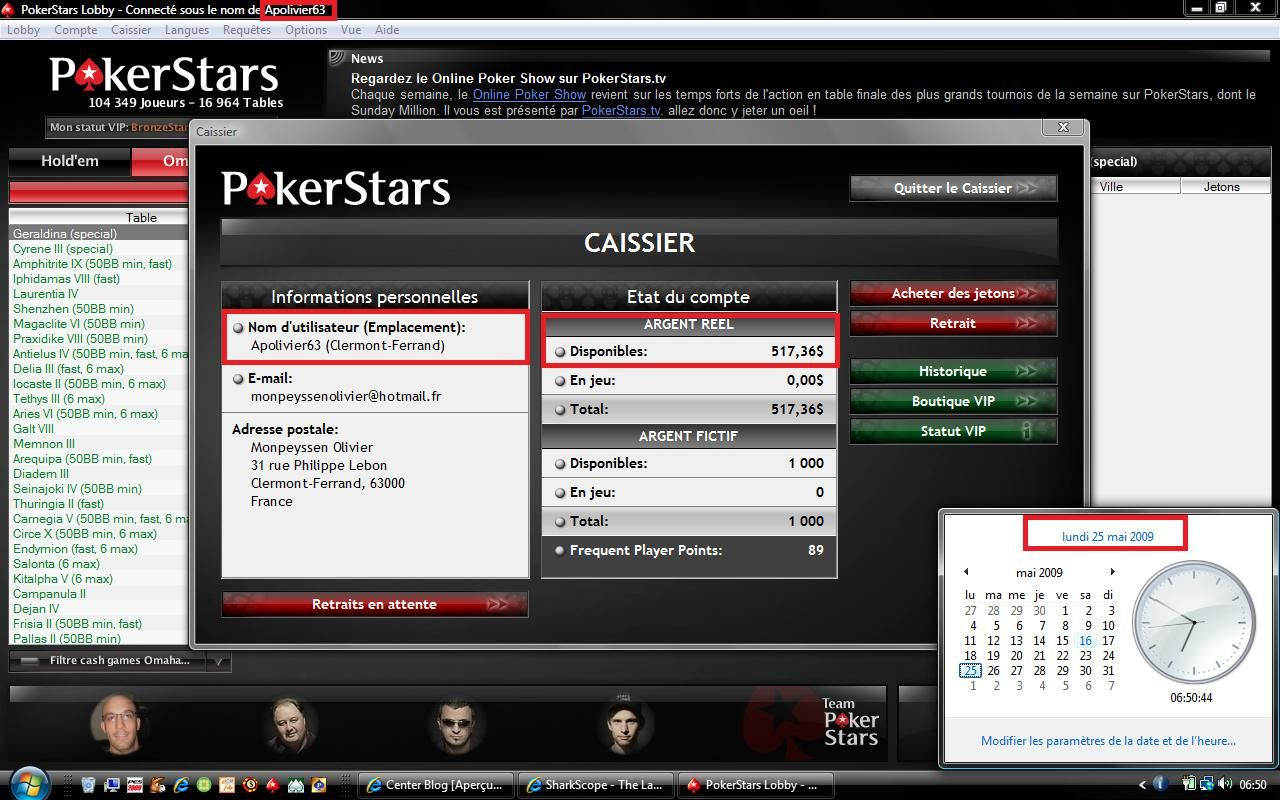 pokerstars login page